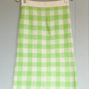 ASOS Lime Green Gingham Knit Bodycon Pencil Skirt